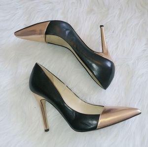 Kate Spade black & rose gold stiletto pumps
